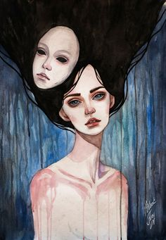Impersonality by Black Fury | watercolor, drawing, feminine, drops, rain, forest, sad. Click through for prints of this artwork (cards, phone cases etc.)!