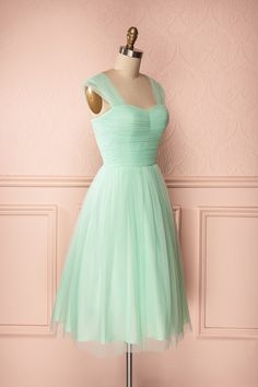Skye - Mid-length pastel mint green tulle A-line dress