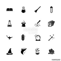 Magic icons - Expand to any size - Change to any colour. Flat Vector Icons - Black Illustration on White Background. - Buy this stock vector and explore similar vectors at Adobe Stock Halloween Games, Simple Things, Vintage Halloween, Vector Icons, Crosses, Piercings, Magic, Change, Colour