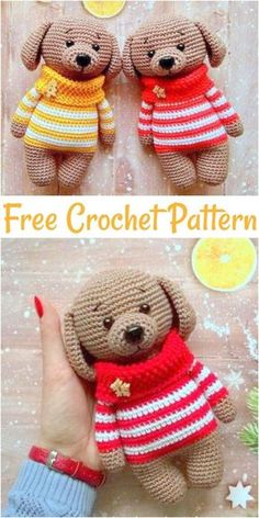 Free Crochet Dog Patterns – Amigurumi Patterns Free Crochet Dog Patterns,Dog In Sweater Amigurumi -Crochet dog patterns have been so much popular among the people in the world of crocheting art and people are being crazy for c Crochet Animal Amigurumi, Crochet Bunny, Cute Crochet, Crochet Animals, Crochet For Kids, Crochet Dolls, Amigurumi Toys, Crazy Patterns, Crochet Dog Patterns