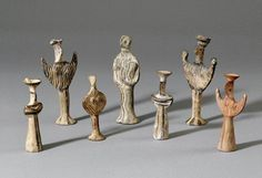 "myancientworld: "" Mycenaean terracotta figures, dated around 1300 BC. These goddess-statuettes were acquisited by the British Museum in 1996, and are around 13.5cm in height. They are Psi-type female figures as they stand in the shape of the Greek..."