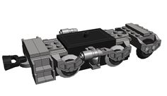 This is the bogie as I designed it in MLCad. When testing the design in real life it turned out the third axle kept derailing. The solution was simple; add two more tiles on either side of the single one in the picture. Lego Track, Lego Factory, Lego City Train, Lego Village, Lego Kits, Train Truck, Train Engines, Lego Projects, Custom Lego