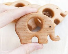 Elephant wooden shape Elephant teether Wooden teether Teething pendant Baby gym pendant Pacifier clip toy Replacement teether Nursery Decor