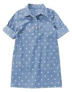 Heart Print Jean Dress at Crazy 8