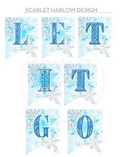 "Printable Frozen Inspired Banner ""LET IT GO"" Frozen Birthday Party, Frozen Party, 4th Birthday, Birthday Parties, Girl Parties, Birthday Stuff, Themed Parties, Birthday Ideas, Frozen Banner"