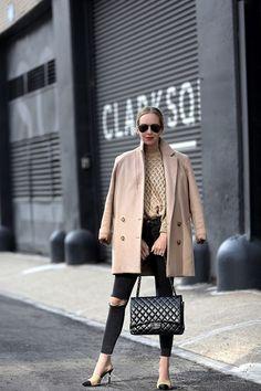 Camel Coat Inspiration, Camel Coat, Camel and Black | Helena of Brooklyn Blonde Chanel lipstick Giveaway