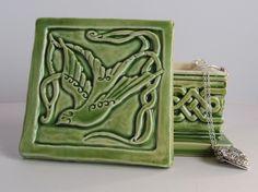 Celtic swallow Ceramic trinket box in apple green by CelticValleyCeramics on Etsy