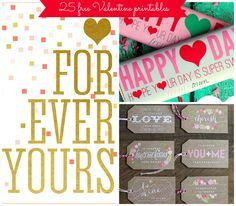 Share the LOVE with these 25 Free Valentine's Day Printables - Pretty My Party #freeprintables #valentinesday