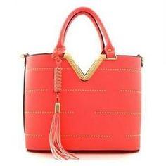 Handbags - CORAL FRINGE TOTE