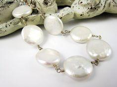 pulsera de perlas moneda pulsera de perlas boda novia joyería
