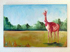 Llama in a Scarf Painting Christmas Llama Landscape by LoganBerard