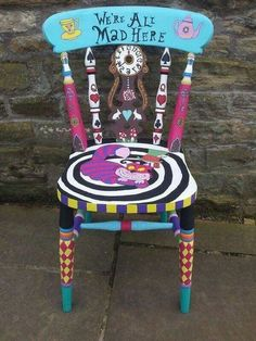 Alice in Wonderland chair hand painted chair, unique art. Alice in Wonderland chair hand painted chair, unique art. Whimsical Painted Furniture, Hand Painted Chairs, Hand Painted Furniture, Funky Furniture, Repurposed Furniture, Painted Stools, Painted Tables, Furniture Ideas, Cheap Furniture