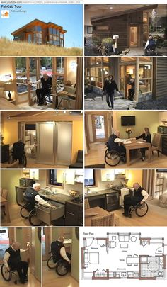 universal design in action... 557 sq ft fabcab designed by emory baldwin features open-plan living, wheelchair-friendly roll-in shower and kitchen counter, telescoping pocket doors in frosted glass, bi-fold closet doors... http://fabcab.com/products/fabcab-homes/ . article:  small space, but still accessible . http://www.abilitiesexpo.com/buzz53.html#g . pics from http://youtu.be/cOnJEVz_3ic . also http://pinterest.com/pin/526921225122742921/
