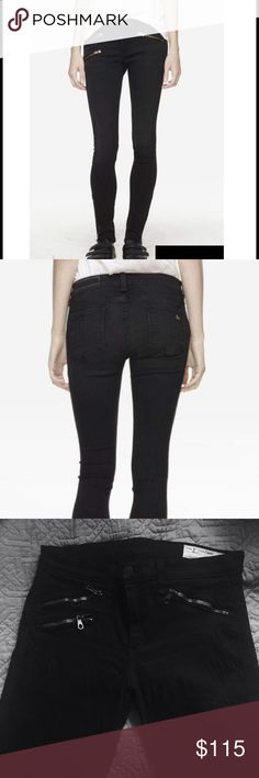 "Rag & Bone Black Zipper Pants Mid rise legging with zippers on legs by the ankles. In good condition. Only worn a few times and no longer fit me. About 10"" leg opening and 30.5"" inseam. rag & bone Jeans Skinny"
