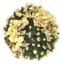 "Christmas Wreath Gold Cream Silk Floral Shatterproof Ornaments 27"" NEW 2014"