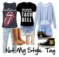 """""""Not My Style Tag"""" by jmlatter ❤ liked on Polyvore featuring Victoria's Secret, Boohoo, Black Orchid, Topshop, Aéropostale, Converse and UGG Australia"""