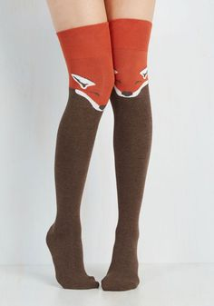 Fur the Win Thigh Highs in Fox. Every outfit becomes a stylish victory when sporting these critter printed socks! #orange #modcloth