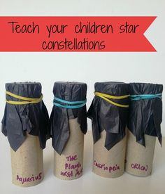 Teach children constellations - star tubes Kids love the moon and stars. If you want to get them interested and teach them constellations, try my star tube viewers made from upcycled materials Space Activities For Kids, Science Activities, Science Projects, Science Experiments, Constellation Activities, Constellation Craft, Space Projects, Projects For Kids, School Projects