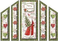 this is a theatre fold card for christmas of a cute santa holding a christmas tree and some flowers and hearts for its side panels