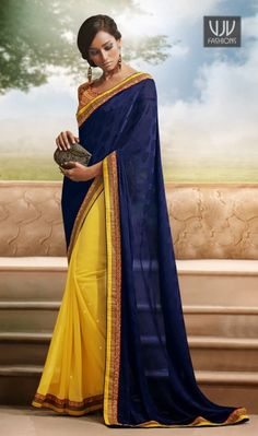 Amazing Yellow And Blue Jacquard Stylish Casual Saree Amazing yellow and blue jacquard stylish casual saree with embroidery, zari, stone, lace and patch border work.