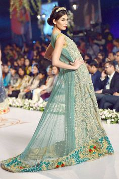 A model presents a creation by designer Tabassum Mughal on the third day of the Bridal Couture Week in Karachi. #Style #Pakistan #Fashion #Beauty #Wedding