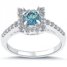 1.03 Carat Fancy Blue Diamond Engagement Ring 14k White Gold Pave Halo