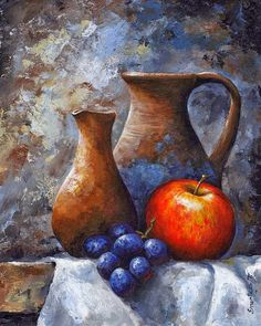 Still Life Art Print featuring the painting Still Life 11 by Emerico Imre Toth Still Life Drawing, Still Life Oil Painting, Still Life Art, Fruit Painting, Still Life Photography, Painting Inspiration, Art Pictures, Painting & Drawing, Watercolor Art