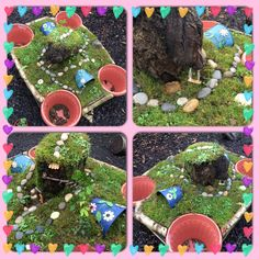 Beautiful new fairy garden - permanent outdoor provocation to ignite the children's interest in our year long fairy and goblin project!