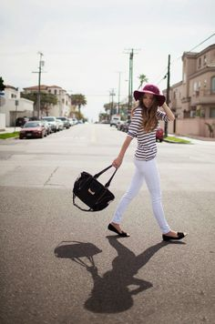 this outfit has everything I'm loving right now: wide-brimmed hat, handmade top, white jeans, and cap-toe flats.