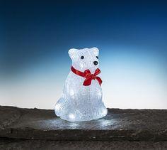 Isbjörn dekorationsbelysning med 10 LED-lampor. Batteridriven julbelysning. 3502271