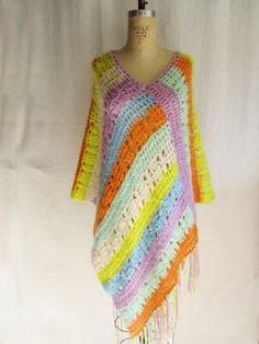 4-SALE = Colorful Crochet Poncho/Shawl  $18.00 USD
