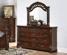 Augustine Court Rich Brown Cherry Wood Glass Dresser