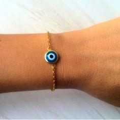 Gold Color Evil Eye Bracelet  Lucky by santorinijewellery on Etsy
