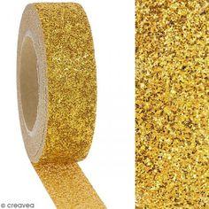 Washi tape Glitter Amarillo dorado - 1,5 cm x 10 m - Fotografía n°2