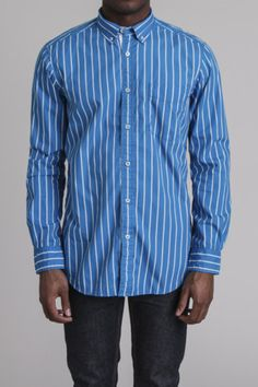 Printed Stripe Washed Poplin Shirt / by American Heritage