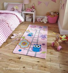 Hong kong pink owl rug buy online from the rug seller uk Owl Rug, Beige Headboard, Owl Kids, Childrens Rugs, Pink Owl, Pink Blue, Blue Grey, Pink Kids, Children