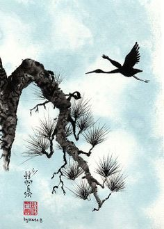 """""""Passing Shadows"""" Spontaneous (Xie Yi) style Chinese brush painting on rice paper by bgsearle."""