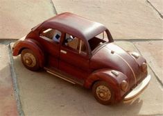 how to make wooden miniature car Wooden Toy Trucks, Wooden Car, Wooden Toys, Wooden Houses, Woodworking Workshop, Woodworking Projects, Wood Toys Plans, Miniature Cars, Kids Wood