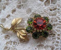 Vintage Rhinestone Flower Brooch by mimiyaya on Etsy, $20.00