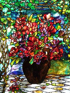 Stained Glass Window - Walker Brothers Pancake House, Highland Park, IL by Angie Naron Stained Glass Flowers, Stained Glass Designs, Stained Glass Art, Stained Glass Windows, Tiffany Stained Glass, Tiffany Glass, Mosaic Art, Mosaic Glass, Art Nouveau