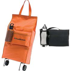 """Wheeled bag. Unfold and lock the wheels to pull the 23"""" shopping bag with ease. The metal stand keeps it from falling when your arm needs a break. The tote also features secure velcro closures at the top, mesh water bottle holster and 9"""" zippered pocket. Made of 420 denier polyester.  Fold-N-Roll Wheeled Bag measures 13""""W x 23""""H x 6""""D."""