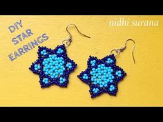 Hello, A lot of effort goes into the making of these videos. If you like my work and would like to support my channel, please feel free to donate money for r. Diy Seed Bead Earrings, Seed Bead Bracelets Diy, Beaded Bracelets Tutorial, Earring Tutorial, Star Earrings, Beaded Necklace Patterns, Seed Bead Patterns, Beading Patterns, Bracelet Patterns