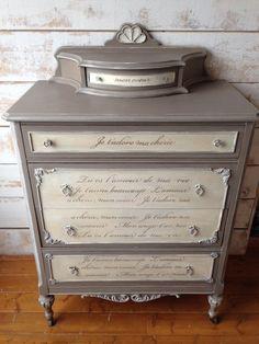 Antique Custom Painted, Tallboy Dresser - SOLD