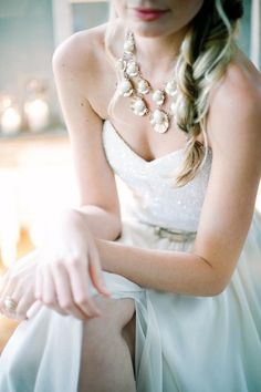 Love this bride's statement necklace // Bride's accessories by Imbue Weddings, Wedding dress by Jennifer Gifford Designs, Photography Ngg Studios.