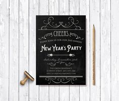New Years Invitation Printable Digital File  by tranquillina