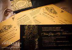 Black and gold wedding stationery. Angela Wong.