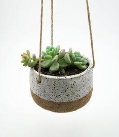 Hanging Succulent Planter - Hanging Pottery Planter - Cactus Planter - Ceramic Planter