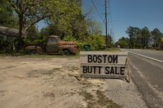 Guyton GA Effingham County Roadside Sign Boston Butt Sale Old Rusty Ford Truck Americana Rural South Photograph Copyright Brian Brown Vanish...