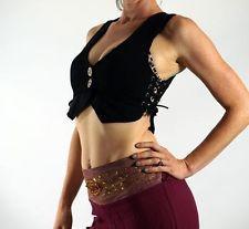 - LOTUS VEST - Zootzu Pirate Renaissance Costume Bodice Gypsy Corset Top Black