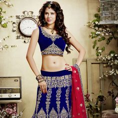 Blue Velvet Lehenga Choli With Dupatta